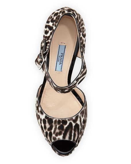 Leopard-Print Calf Hair Mary Jane Sandal