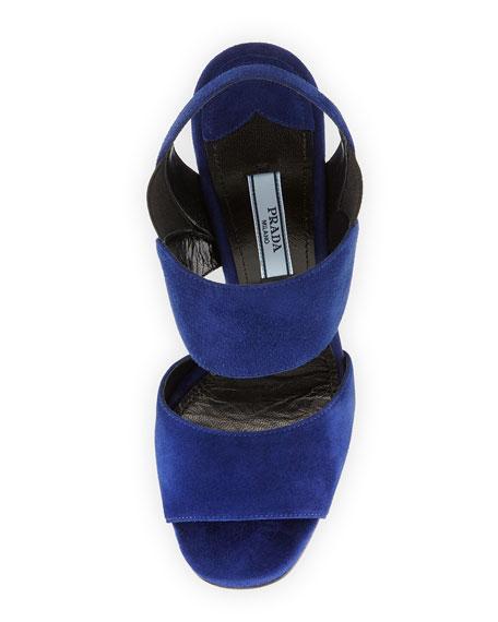 Slingback Open-Toe Sandal, Navy