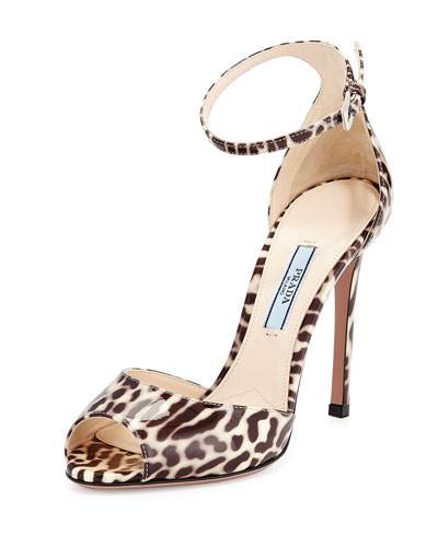 Leopard Patent Leather Sandal, Beige (Talco)