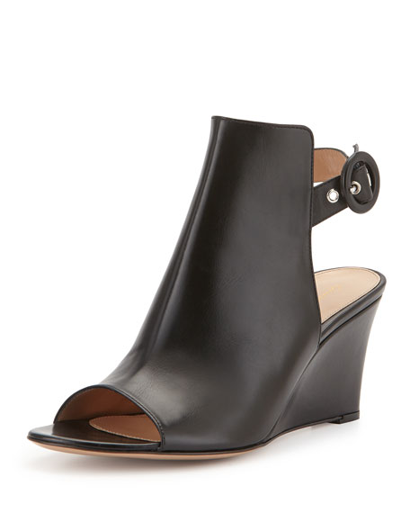 Open-Toe Slingback Wedge Bootie, Black