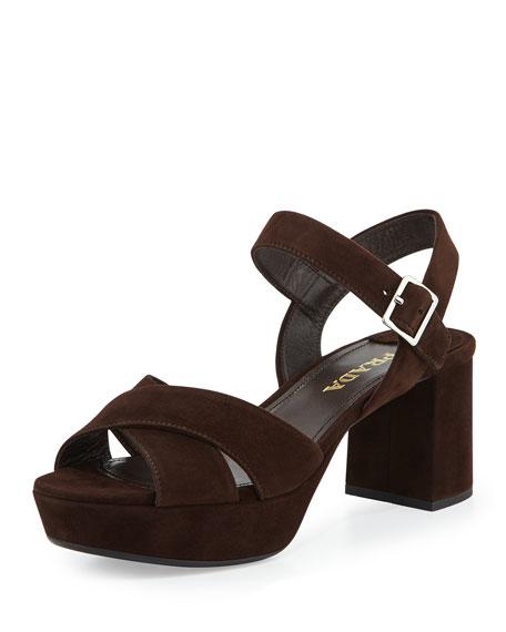 Prada Crisscross Suede Platform Sandal, Brown (Moro)