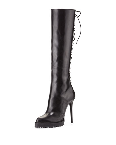 Leather Lace-Back Boot, Black
