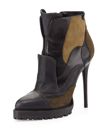 Alexander McQueen Mixed-Media Ankle Boot, Black/Multi