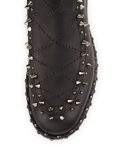 Baltazar Studded Leather Boot, Black