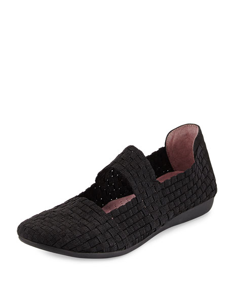 Taryn Rose Bela Woven Mary Jane Flat, Black