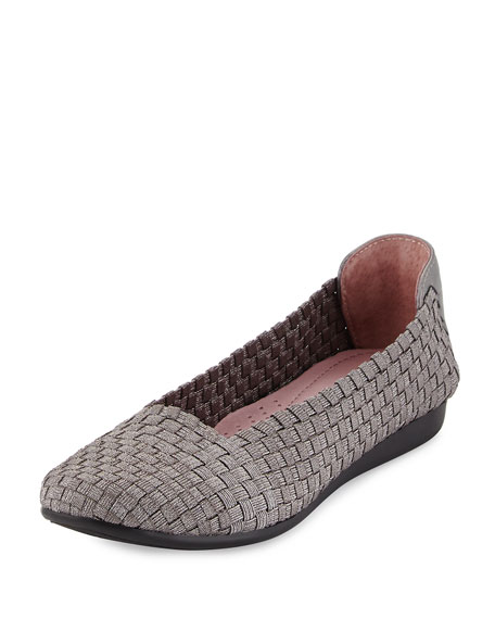 Taryn Rose Belicia Stretch-Woven Flat, Pewter