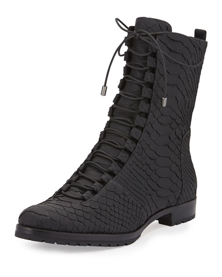 Alexandre Birman Benjamine Python Lace-Up Boot, Black