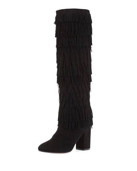 Aquazzura Woodstock Fringed Suede Knee Boot, Black