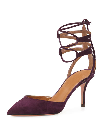 Amanda Suede Lace-Up Pump, Dark Orchid