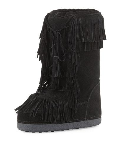 Boho Karlie Suede Fringe Boot, Black