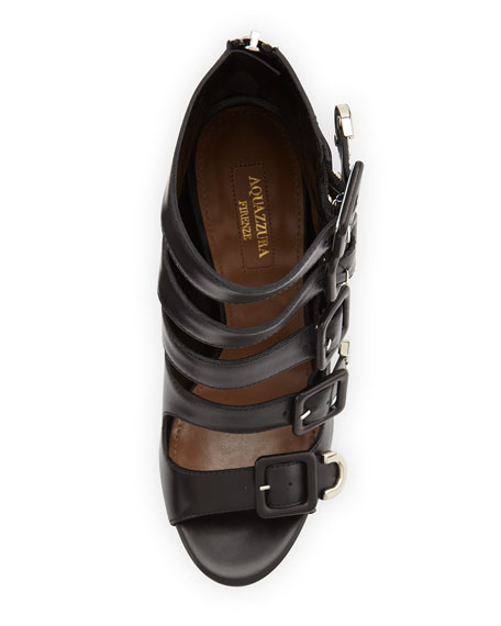 Tutto Buckle-Strap Leather Sandal, Black