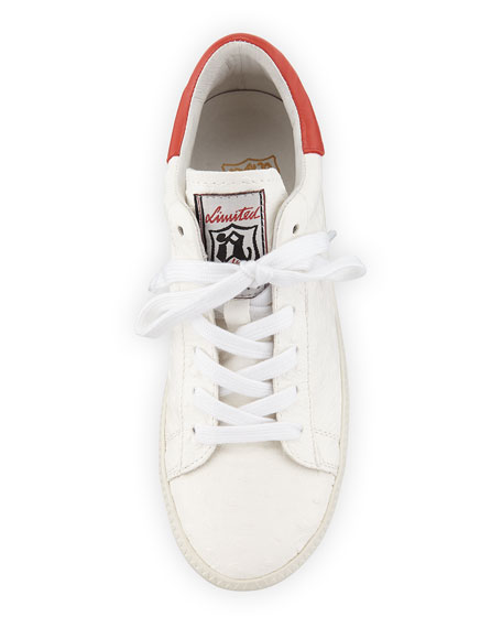 Cult Embossed Leather Platform Sneaker, White