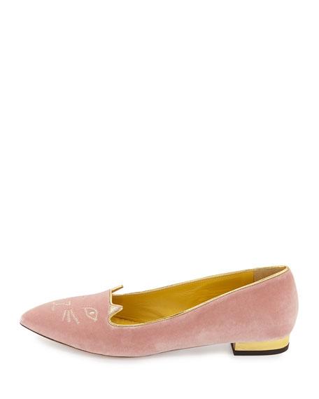 Mid-Century Velvet Kitty Flat, Pale Pink