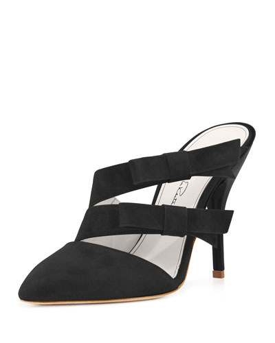 Fibi Bow-Detail Suede Mule, Black