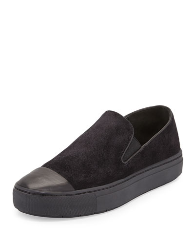 Neda Cap-Toe Slip-On Sneaker, Black