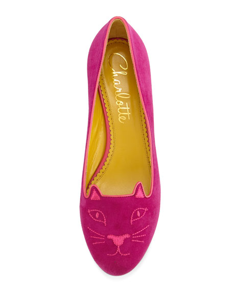 Kitty Embroidered Suede Flat, Perfect Purple