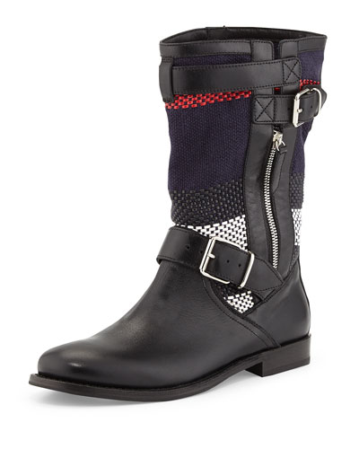 Prorsum Check Moto Boot, Black