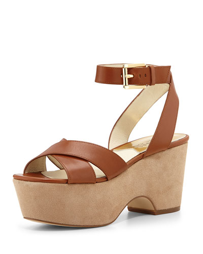 Ariel Leather Platform Sandal, Luggage