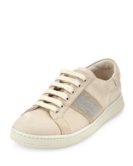 Brunello Cucinelli Nubuck Monili Lace-Up Sneaker, Dove