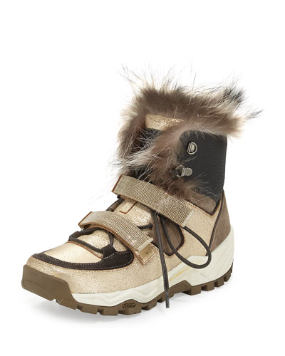 Fur-Trimmed Monili-Strap High-Top Sneaker, Volcano