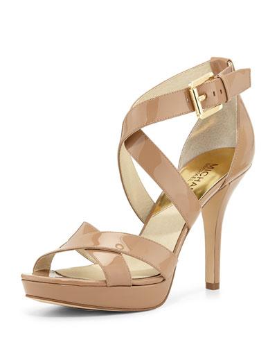 Evie Patent Platform Sandal, Dark Khaki