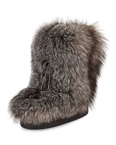 Fox Fur Snow Boot with Monili Beading