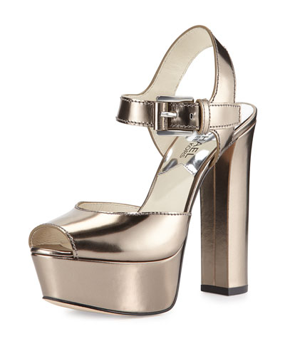 London Metallic Platform Sandal, Nickel