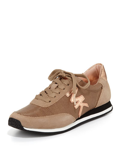 Stanton Metallic Leather Sneaker, Dark Khaki