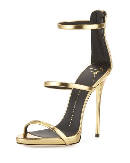Metallic Three-Strap Evening Sandal, Oro