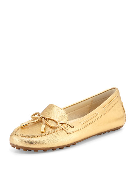 MICHAEL Michael Kors Daisy Metallic Leather Moccasin, Pale
