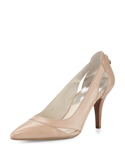 Hamilton Leather Cutout Pump, Dark Khaki