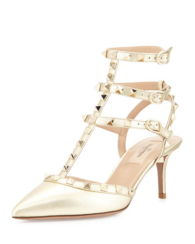 Rockstud Metallic Leather Mid-Heel Pump, Platino