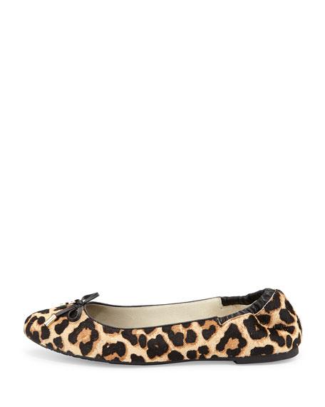 Melody Calf-Hair Ballet Flat, Natural/Leopard