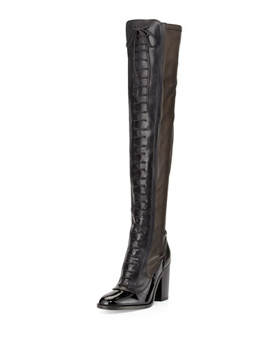 Idylle Over-the-Knee Lace-Up Boot, Black