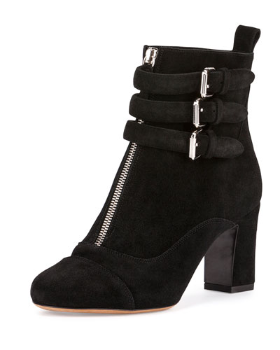 Nash Front-Zip Suede Ankle Boot, Black