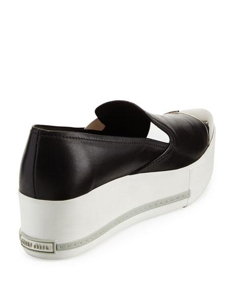 Metallic Cap-Toe Skate Sneaker, Black (Nero)