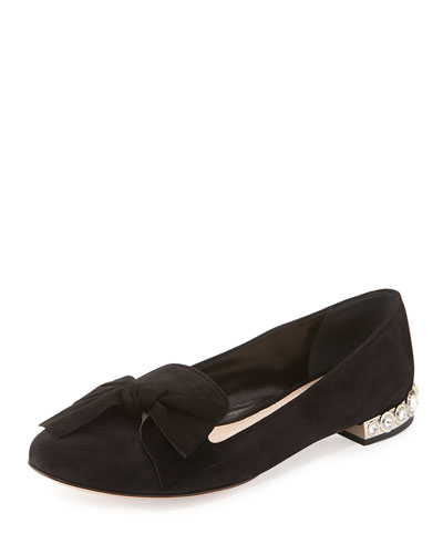 Suede Crystal-Heel Smoking Slipper, Black