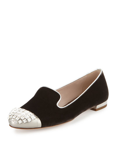 Glittered Cap-Toe Smoking Slipper, Slate (Ardesia)