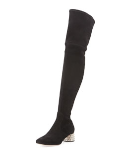 Suede Jewel-Heel Over-the-Knee Boot