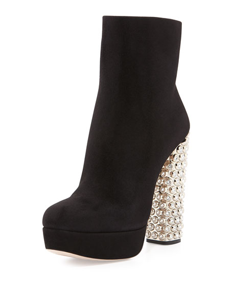 Suede Jeweled-Heel Platform Boot, Black