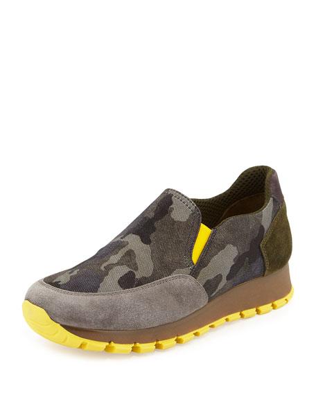 PradaCamo Tech Slip-On Sneaker, Gray