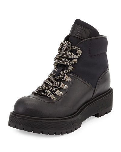 Low Leather Hiking Boot, Black