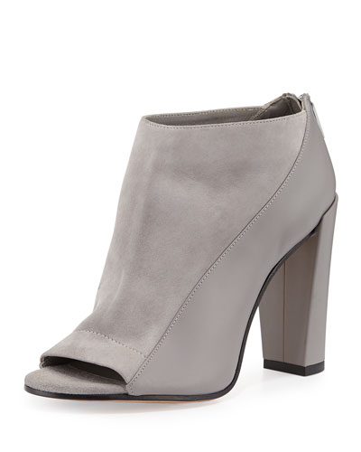 Bayard Two-Tone Leather Bootie, Truffle