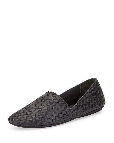Bogart-3 Woven Slip-On Flat, Black