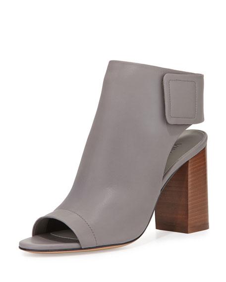 Faye Open-Toe Leather Bootie