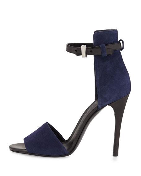 Giustina Ankle-Strap Sandal, Blue Marine/Black