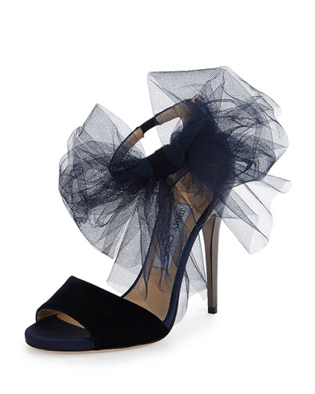 Lilyth Tulle Bow Evening Sandal, Navy/Anthracite