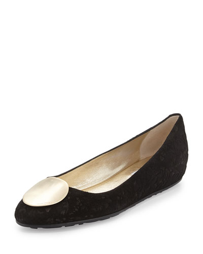 Wray Printed Suede Ballet Flat, Black