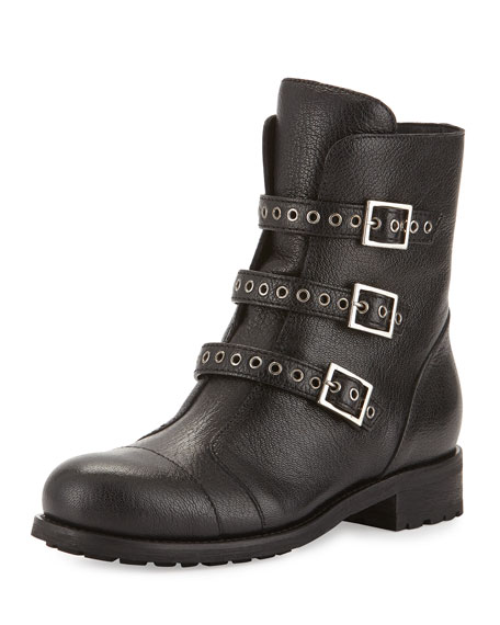 Jimmy Choo Dover Triple Buckle Flat Boot, Black