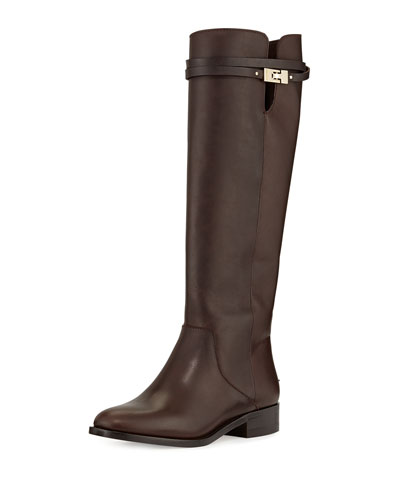 Hyson Flat Leather Knee Boot, Mocha
